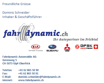 Fahrdynamic Automobile AG - E-Mail-Signatur