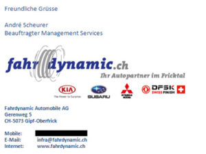 Fahrdynamic Automobile AG - E-Mail-Signatur AS